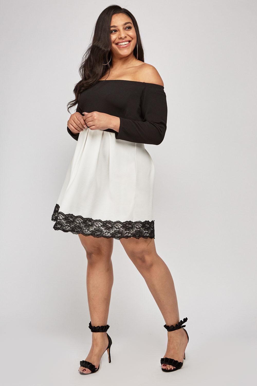 3ae1c85305 Off Shoulder Lace Hem Bardot Dress - Just £5