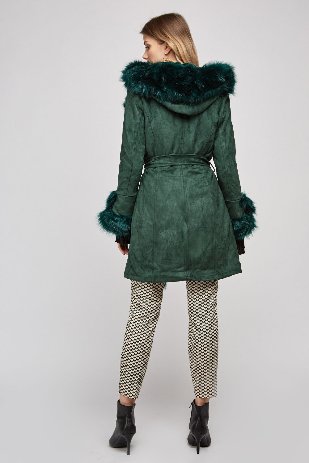 Belted Faux Fur Trim Coat - Forest Green - Just $46