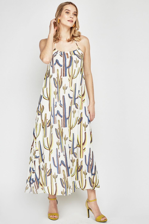 c089f0f9df19 Cactus Print Halter Neck Dress - White Multi - Just £5