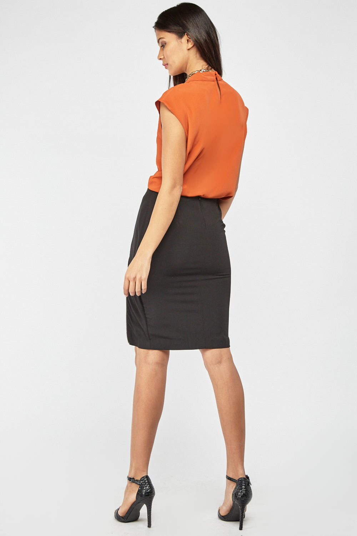 5965b79d665f Double Zipper Front Midi Skirt - Black - Just £5