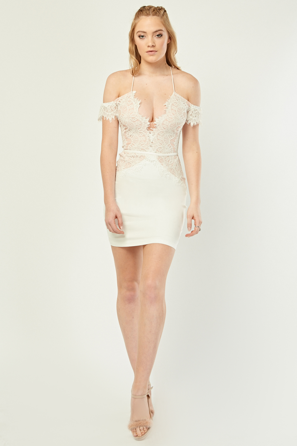 5f200b72fa Low Plunge Lace Overlay Dress - White - Just £5