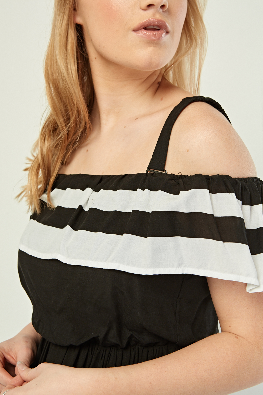 1f3681ba73 Monochrome Ruffle Maxi Dress - Black/White - Just £5