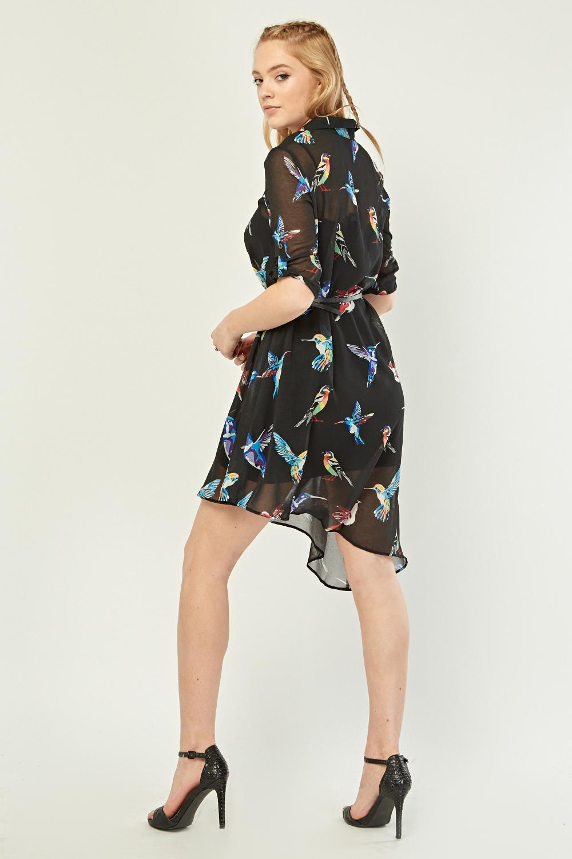 fa0112a039 Sheer Bird Print Shirt Dress - Black/Multi - Just £5