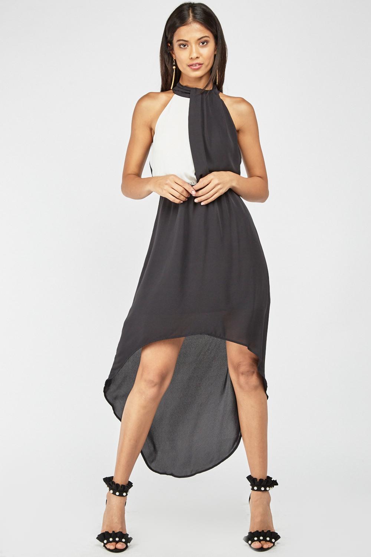 eacf631553b Sheer Two-Tone Dip-Hem Dress - Black - Just £5