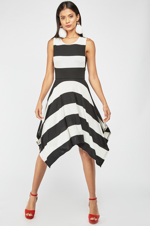 3d55100c98a8 Striped Asymmetric Jersey Dress - Black White - Just £5