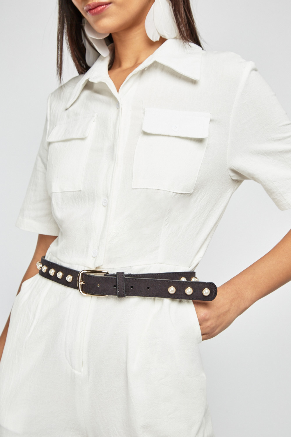 7868b6f35692 Textured White Utility Jumpsuit. 1 .