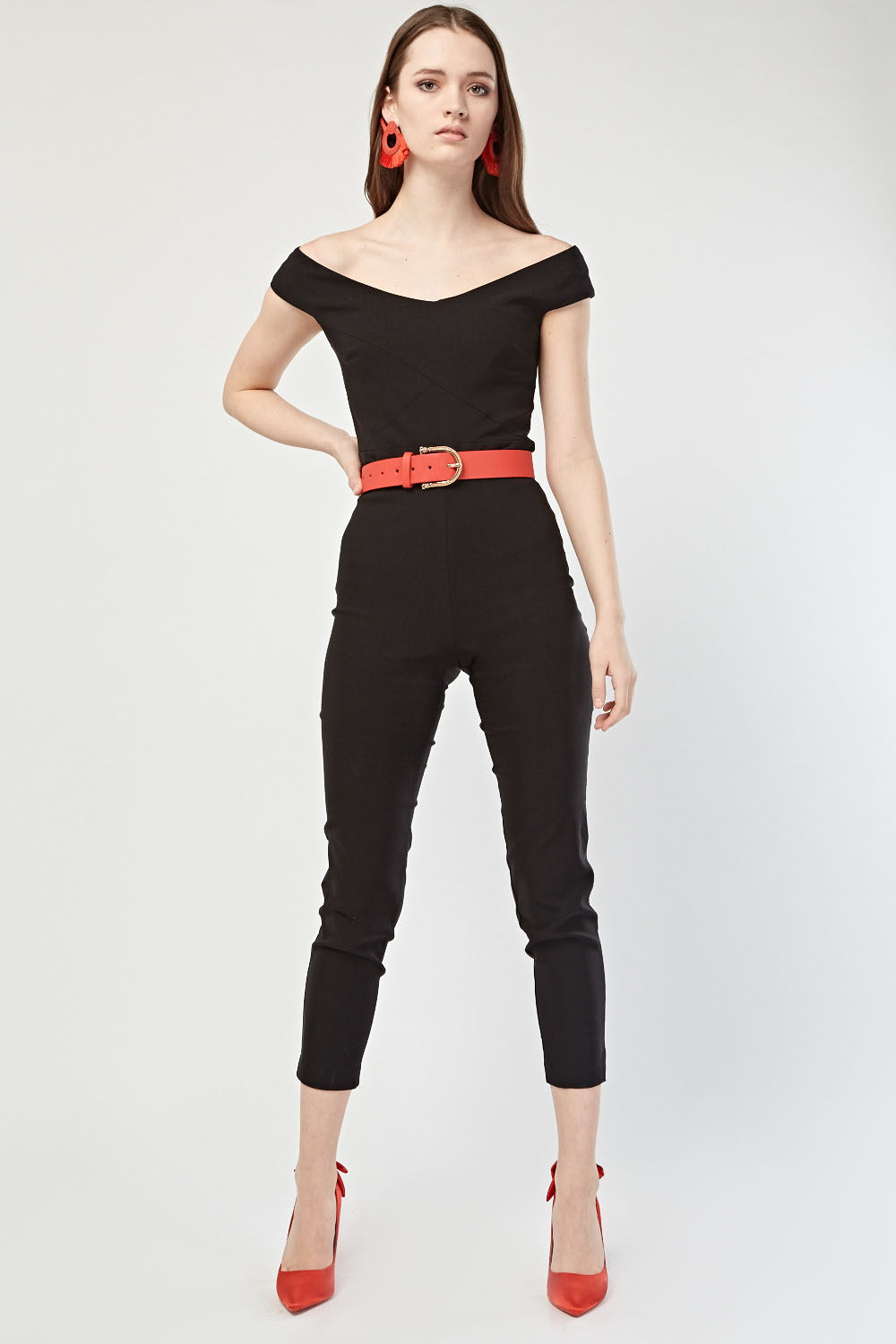 Off Shoulder Cropped Jumpsuit Just 163 5