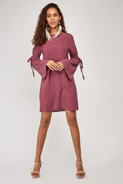 35889f630f1 Tie Up Sleeve Tunic Dress - Plum - Just £5