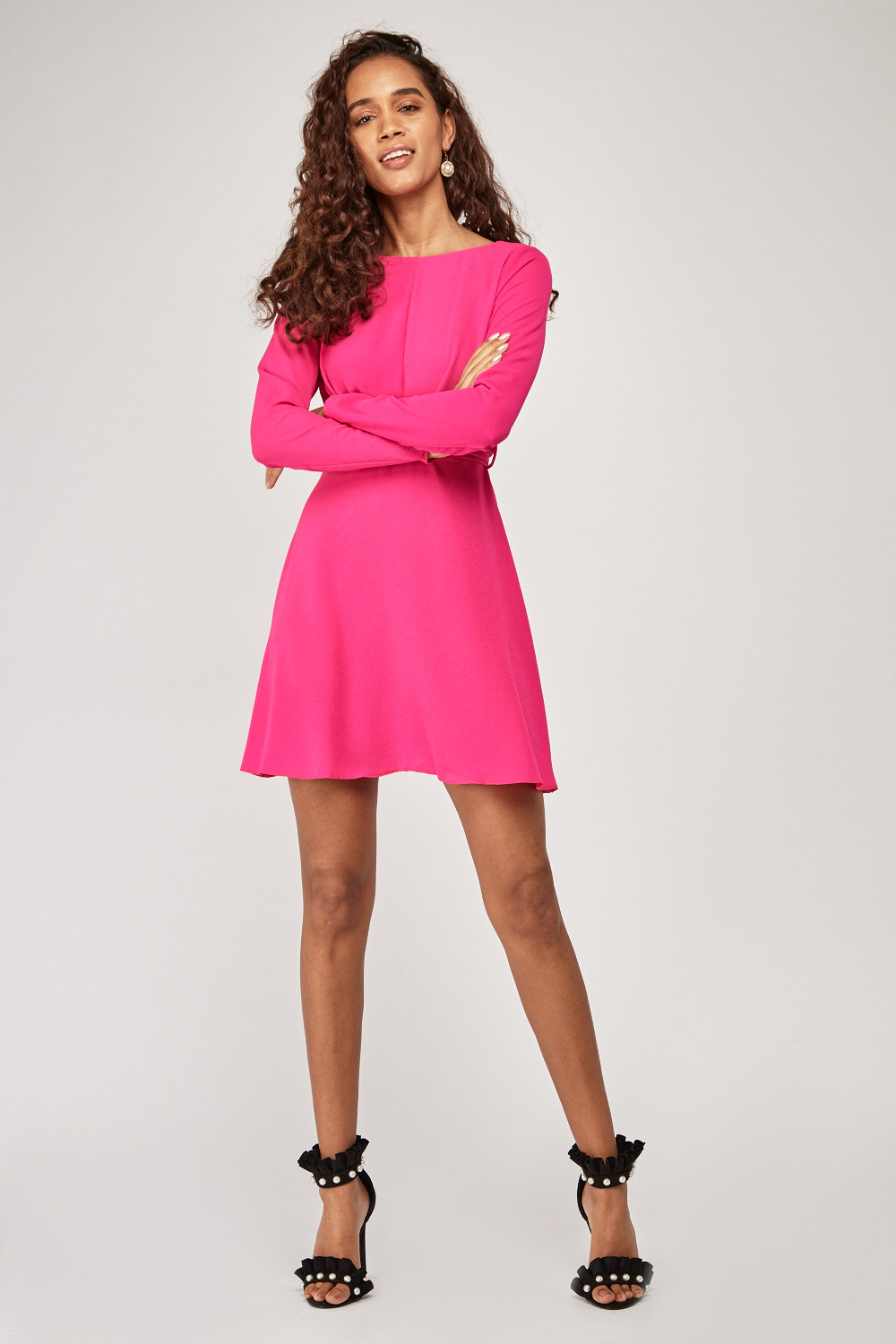 74d55ae608e2 Twisted Tie Up Swing Dress - Hot Pink - Just £5