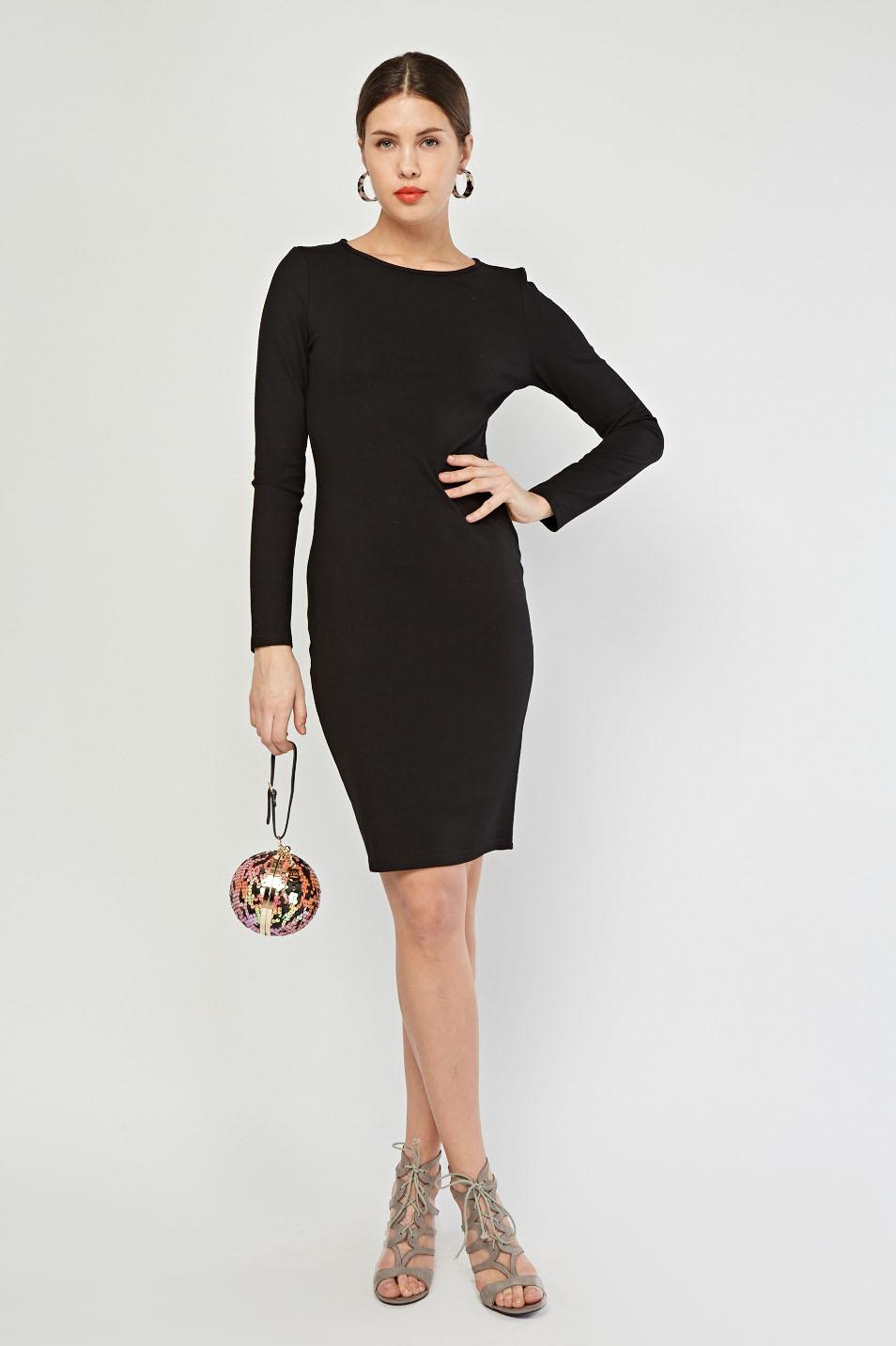 6bccd2153e47 Plain Black Midi Dress - Just £5