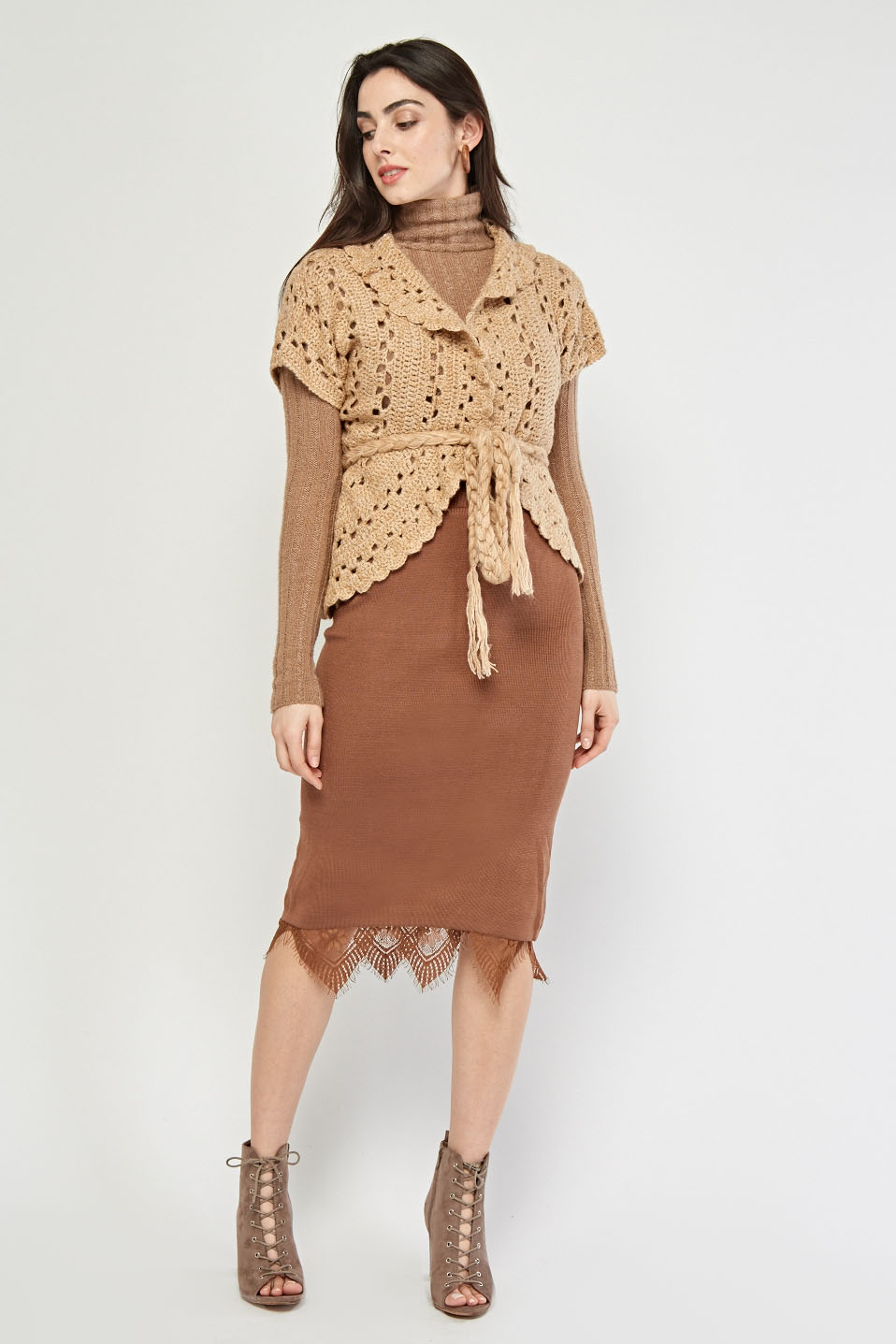 03bc741926 Loose Knit Tie Up Cardigan - Beige or Camel - Just £5