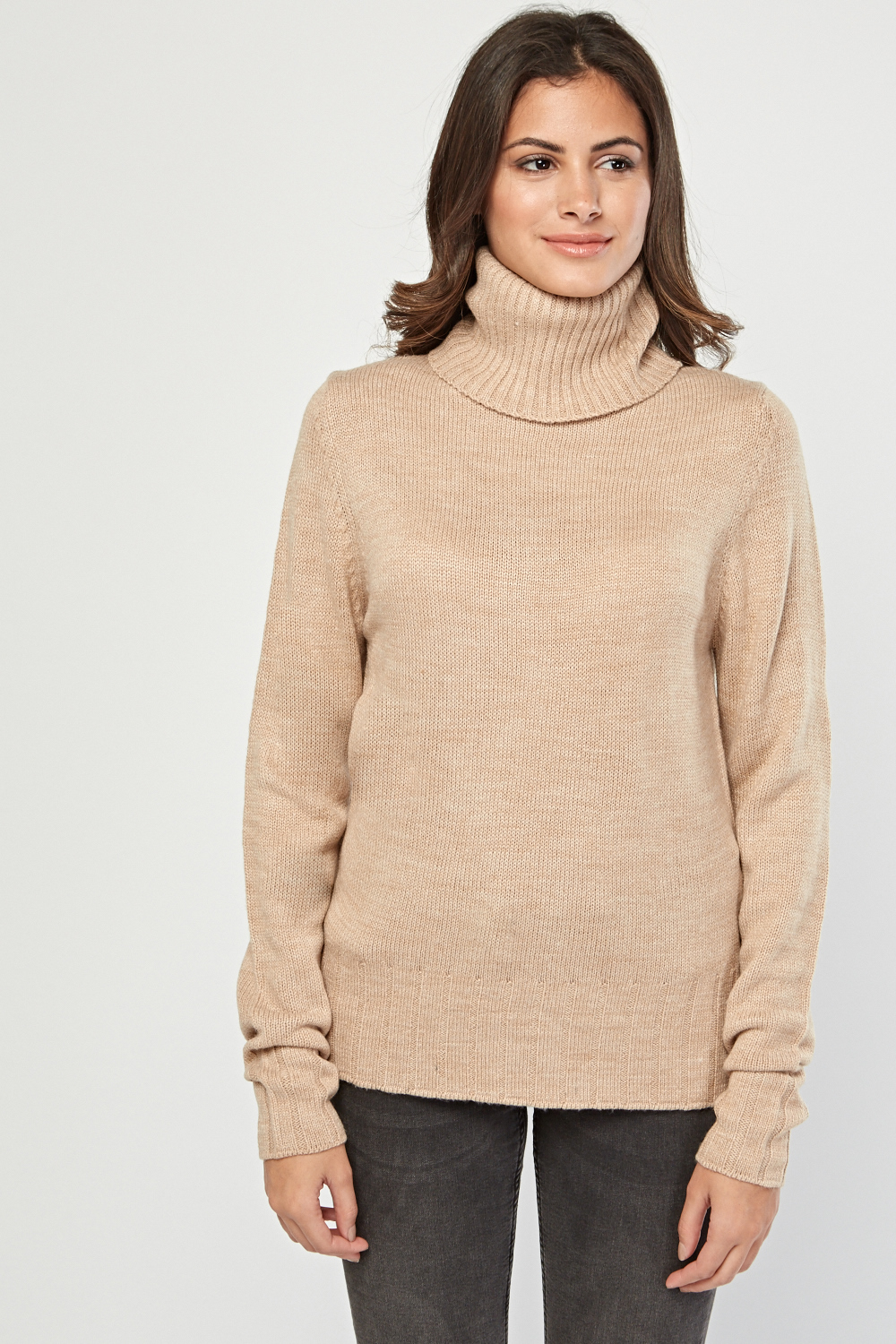 e91e522a61f84b Ribbed Trim Roll Neck Jumper - Beige - Just £5
