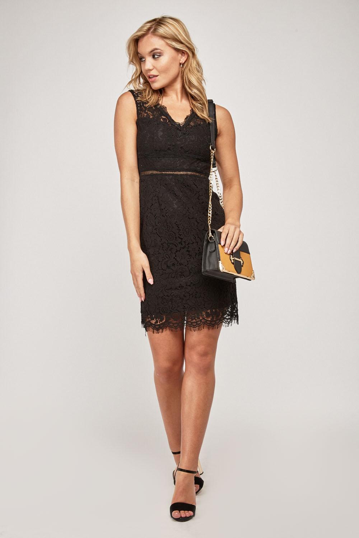 8732d8d3d50 V-Neck Lace Overlay Mini Dress - Black - Just £25
