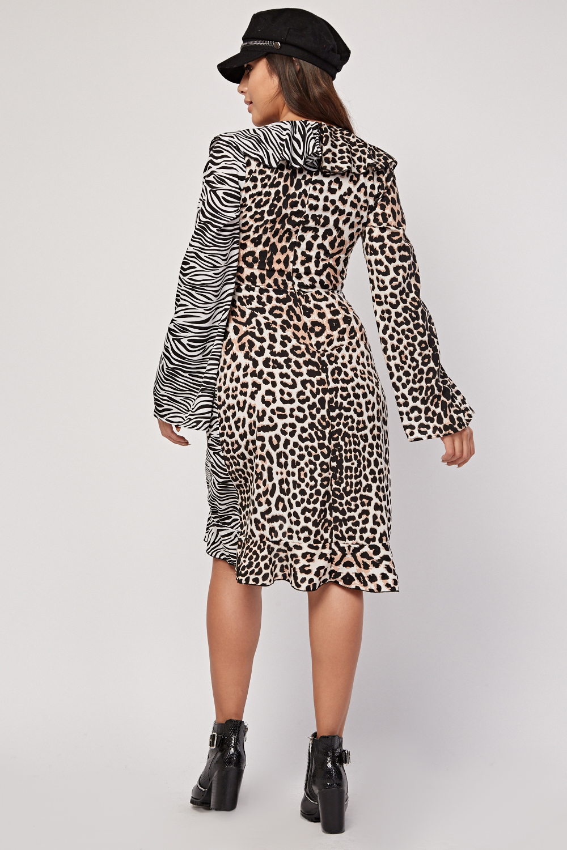 Zebra Leopard Contrast Wrap Dress Just 163 5