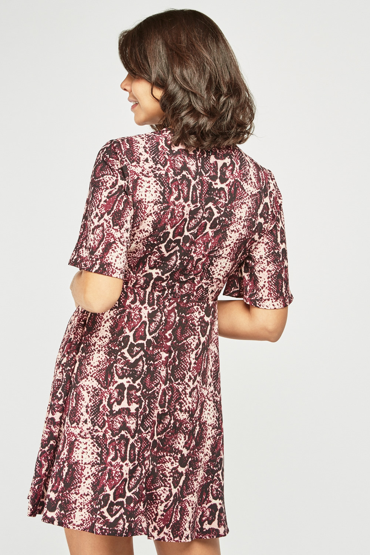 Purple Snake Print Tea Dress Just 163 5