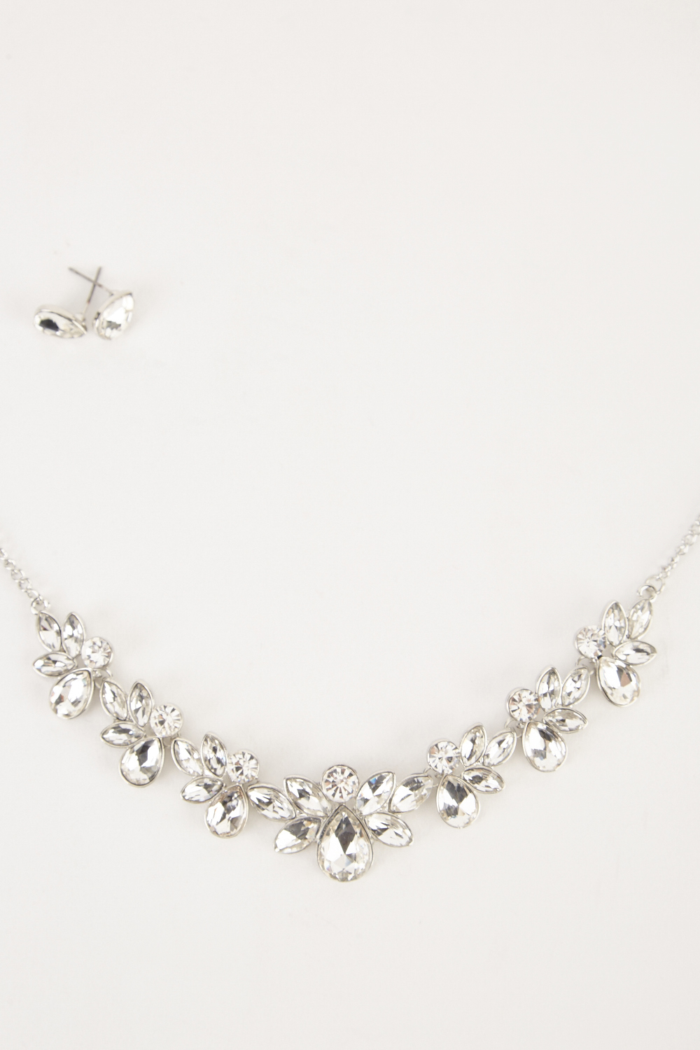 926e80fd3 Diamante Floral Necklace And Stud Earrings Set - Just £5