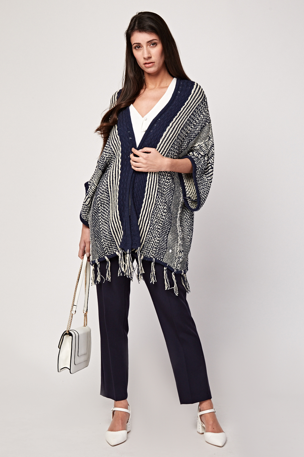 Mix Pattern Knitted Slouchy Cardigan Navy White Just 163 5