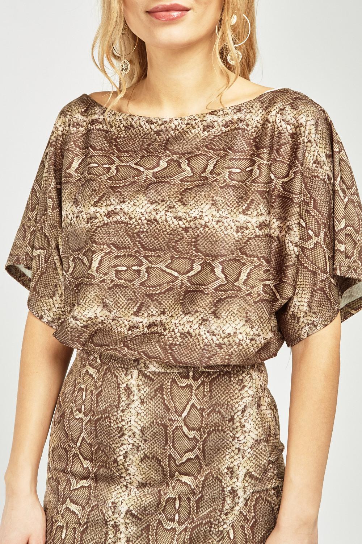 Snake Skin Printed Midi Wrap Dress Just 163 5