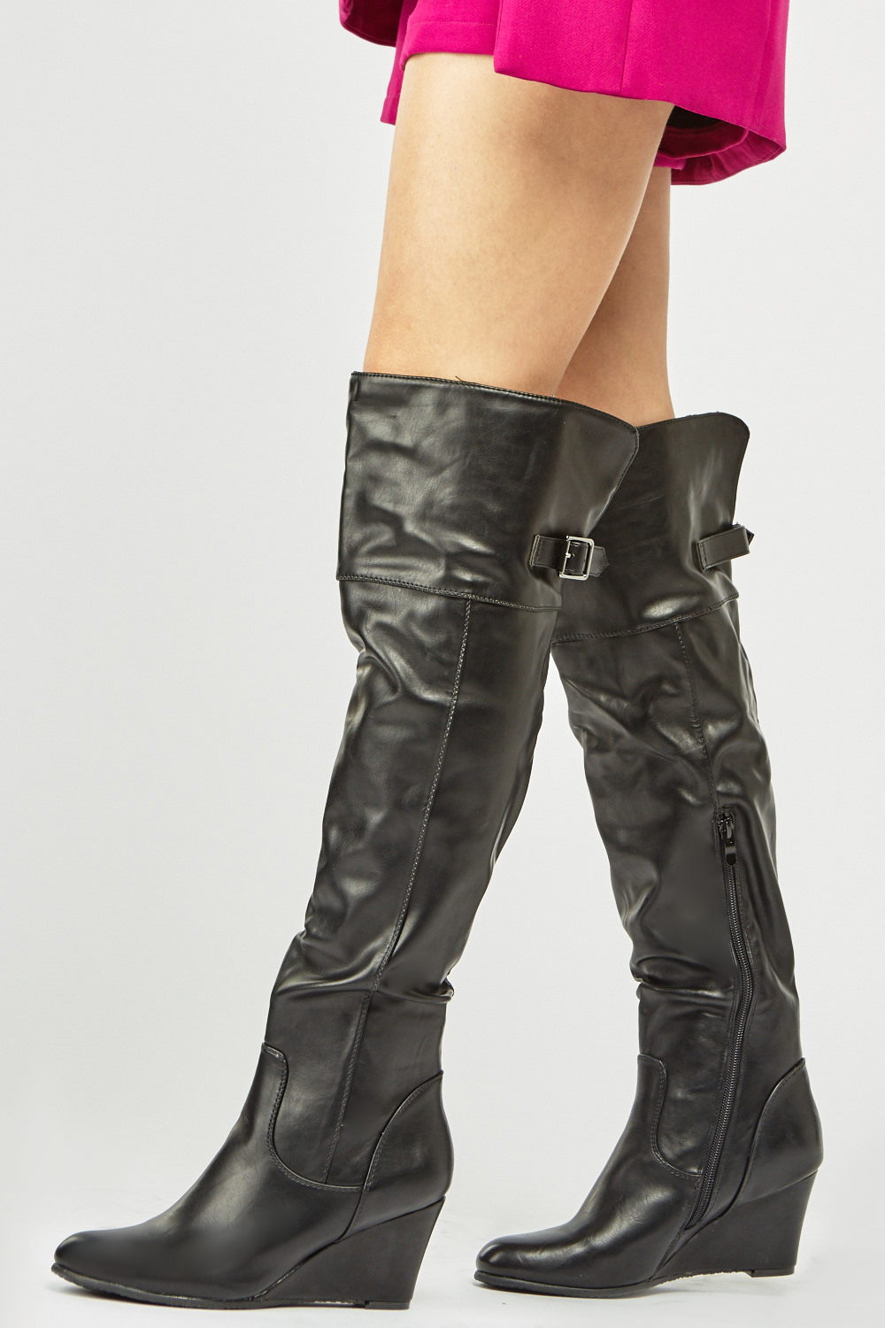 540fb4f6fe2 Faux Leather Wedge Boots - Black - Just £15