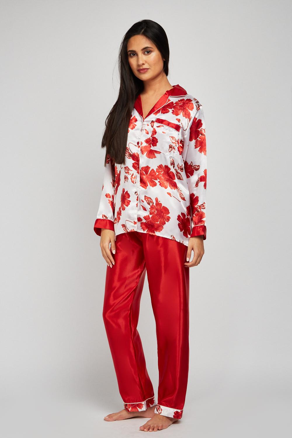 752a391f5b Floral Sateen Pyjama Set - Red - Just £5