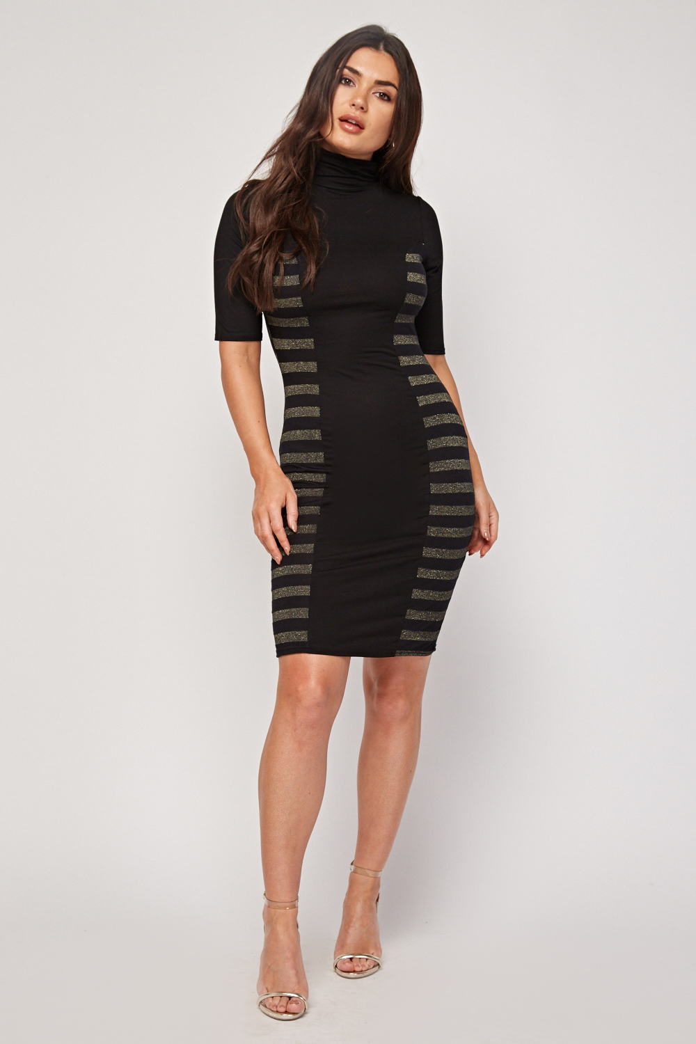 Metallic Stripe Side Bodycon Dress Just 163 5