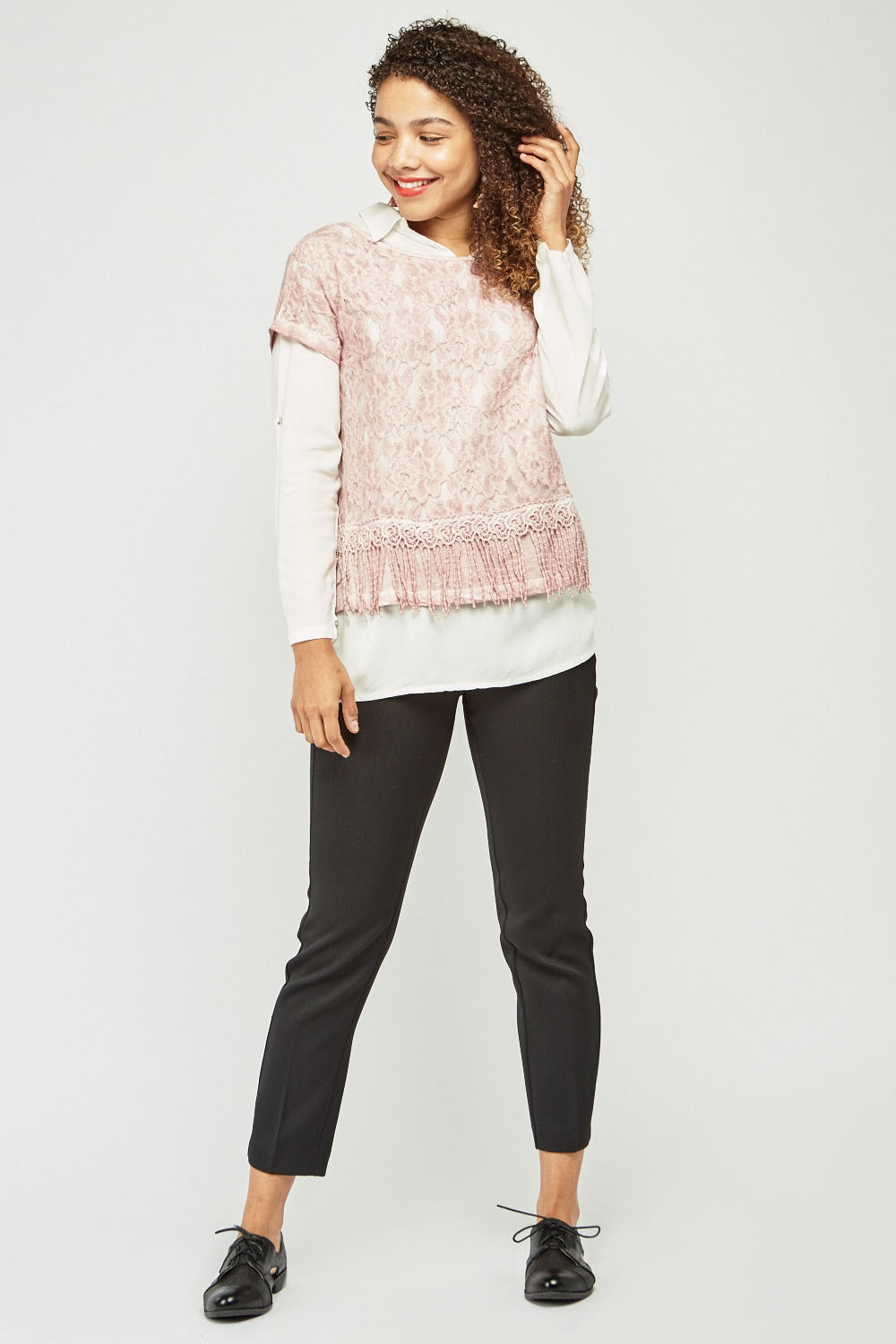 1297215187 Textured Lace Overlay Shirt - 3 Colours - Just £5