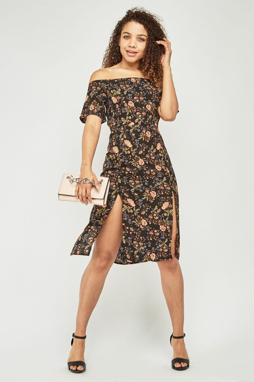 147ab01efa66 Black Multi Floral Midi Dress
