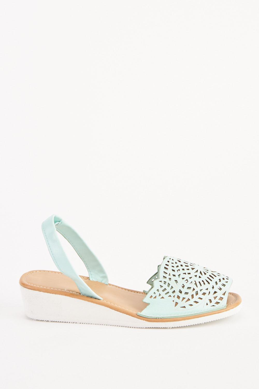7ea85e38a75 Laser Cut Low Wedge Sandals - Mint - Just £5