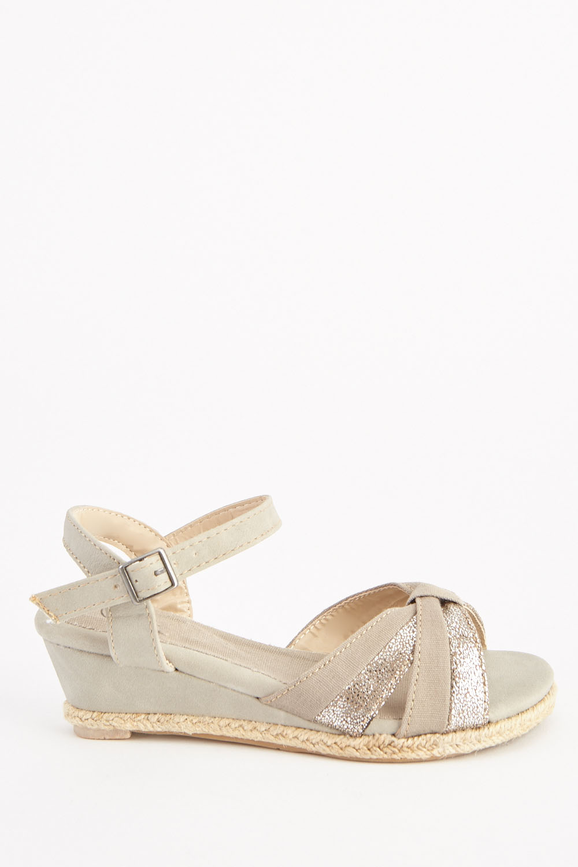 bc06e1bc6b5 Metallic Criss-Cross Sandals - Beige - Just £5
