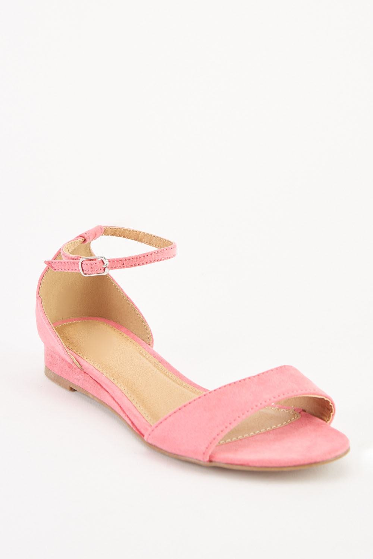 569540f7d88b Suedette Ankle Strap Sandals - Pink - Just £5