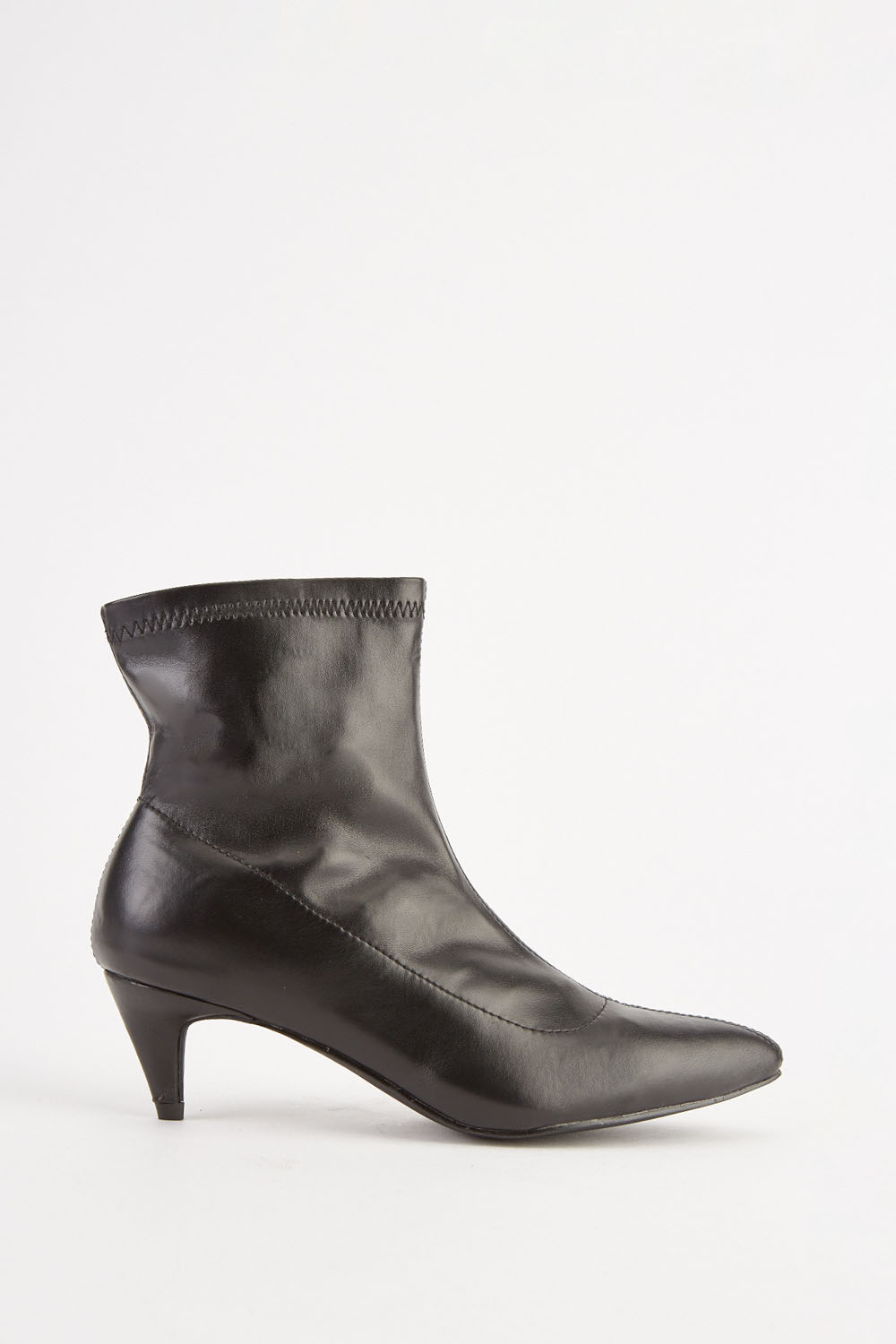 b1ab2693539 Faux Leather Kitten Heel Boots - Black - Just £5