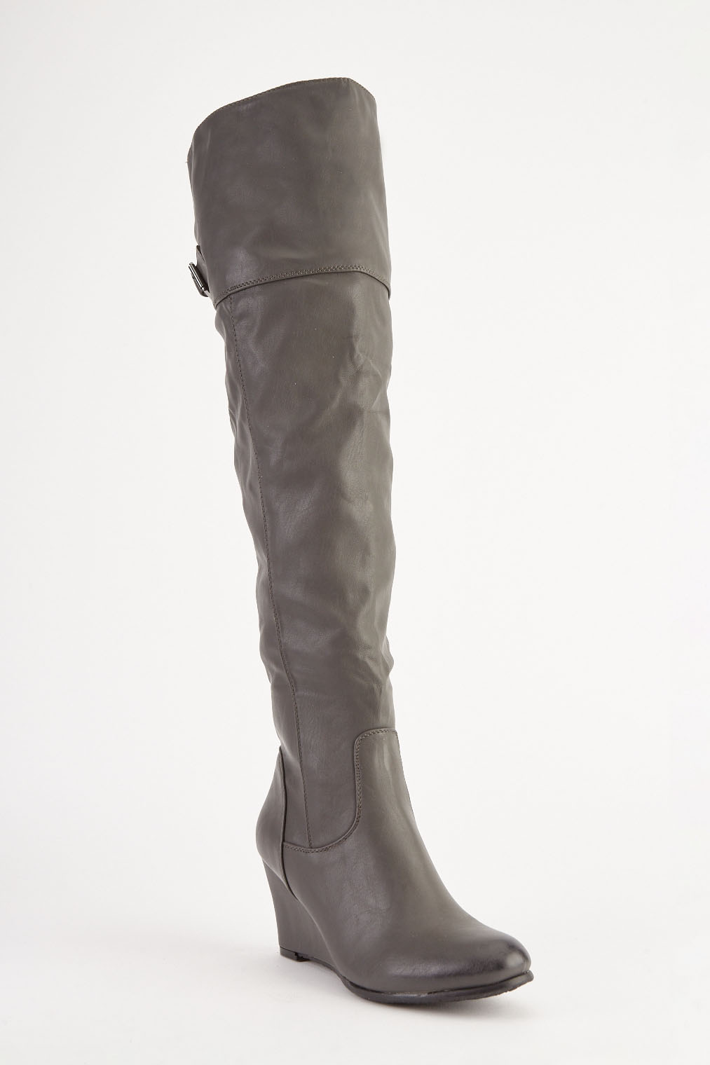 Grey Faux Leather Knee High Boots Just 163 5