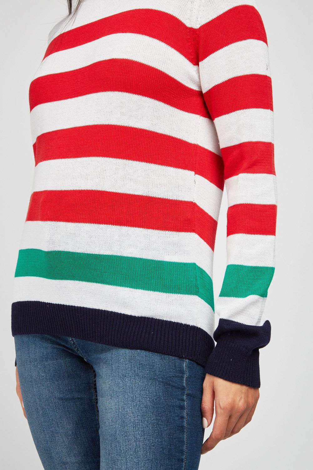Multi Stripe Knit Jumper Red Green Or Black Yellow Just 163 5