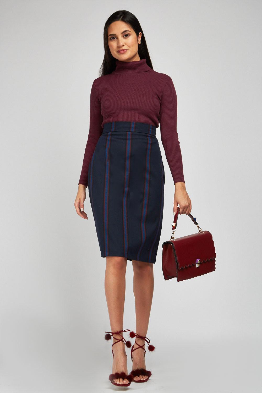 60814104e2d9d3 Vertical Stripe Midi Pencil Skirt - Navy/Multi - Just £5