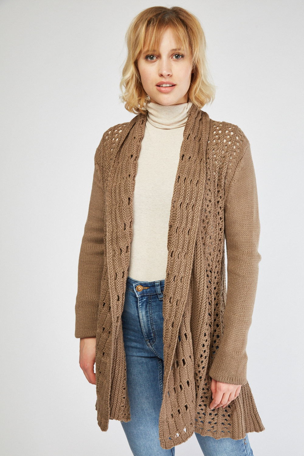 Loose Knit Open Cardigan - Just $3