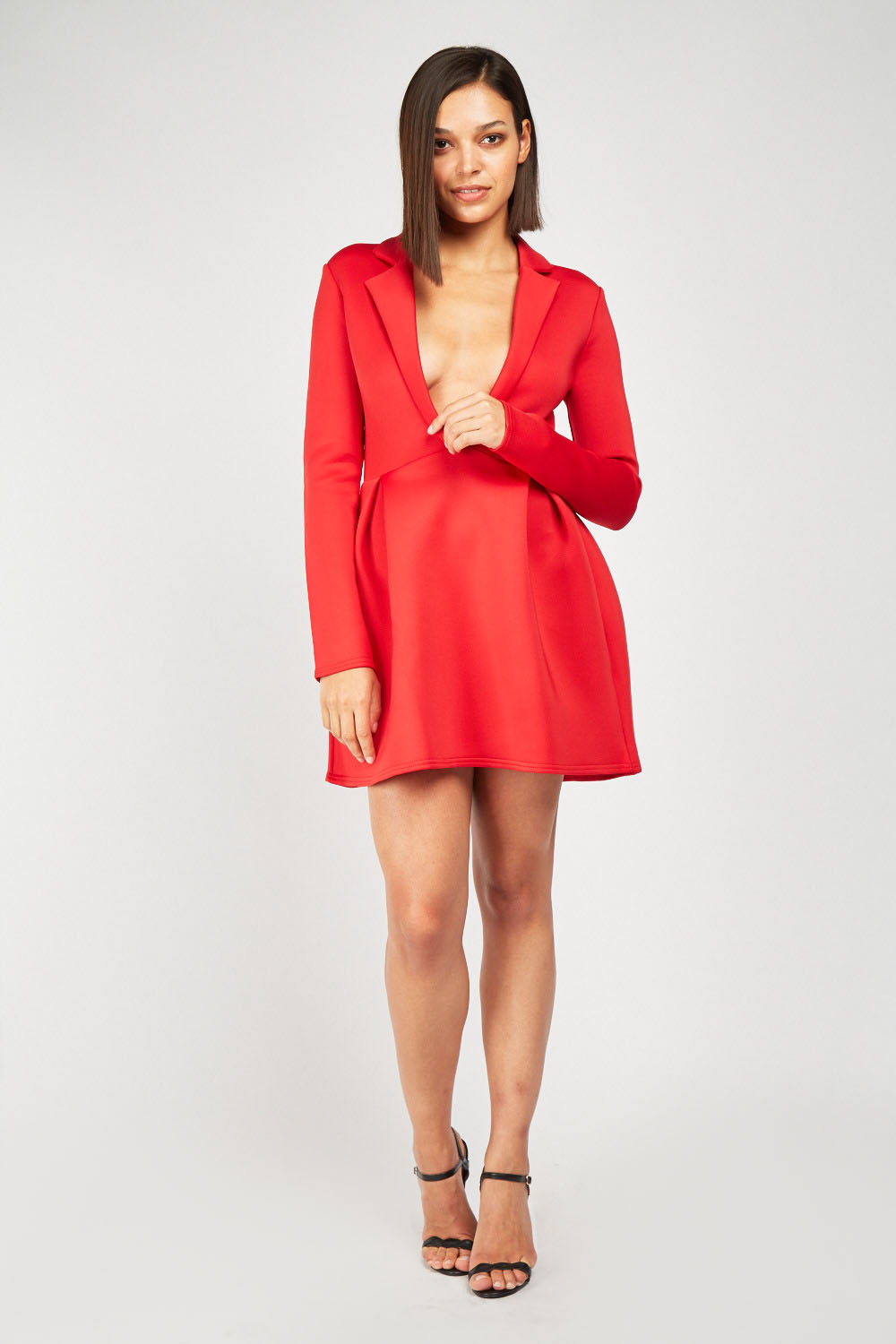 2fafdb1f57a9 Low Plunge Mini Scuba Dress - Red or White - Just £5