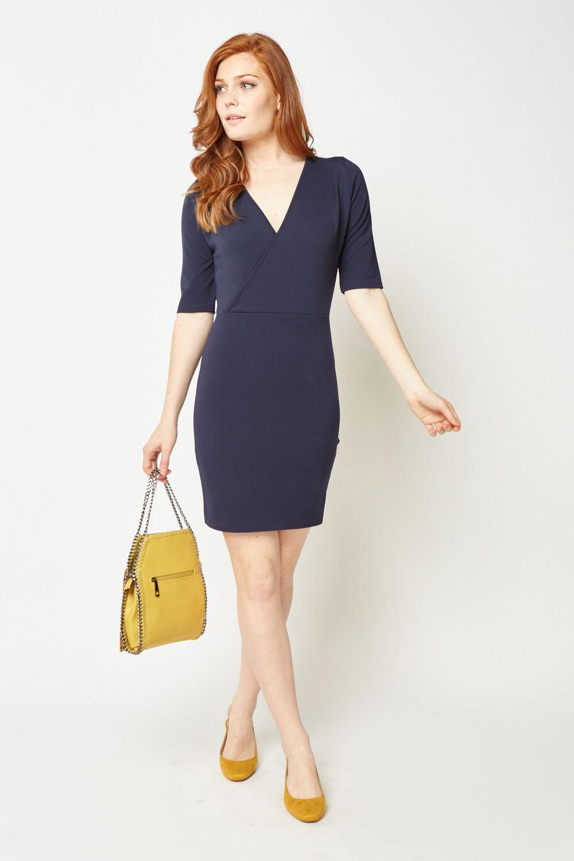 976b477bfb5 Short Sleeve Mini Wrap Dress. £5.00. ColourDark Blue. Black  Dark Blue