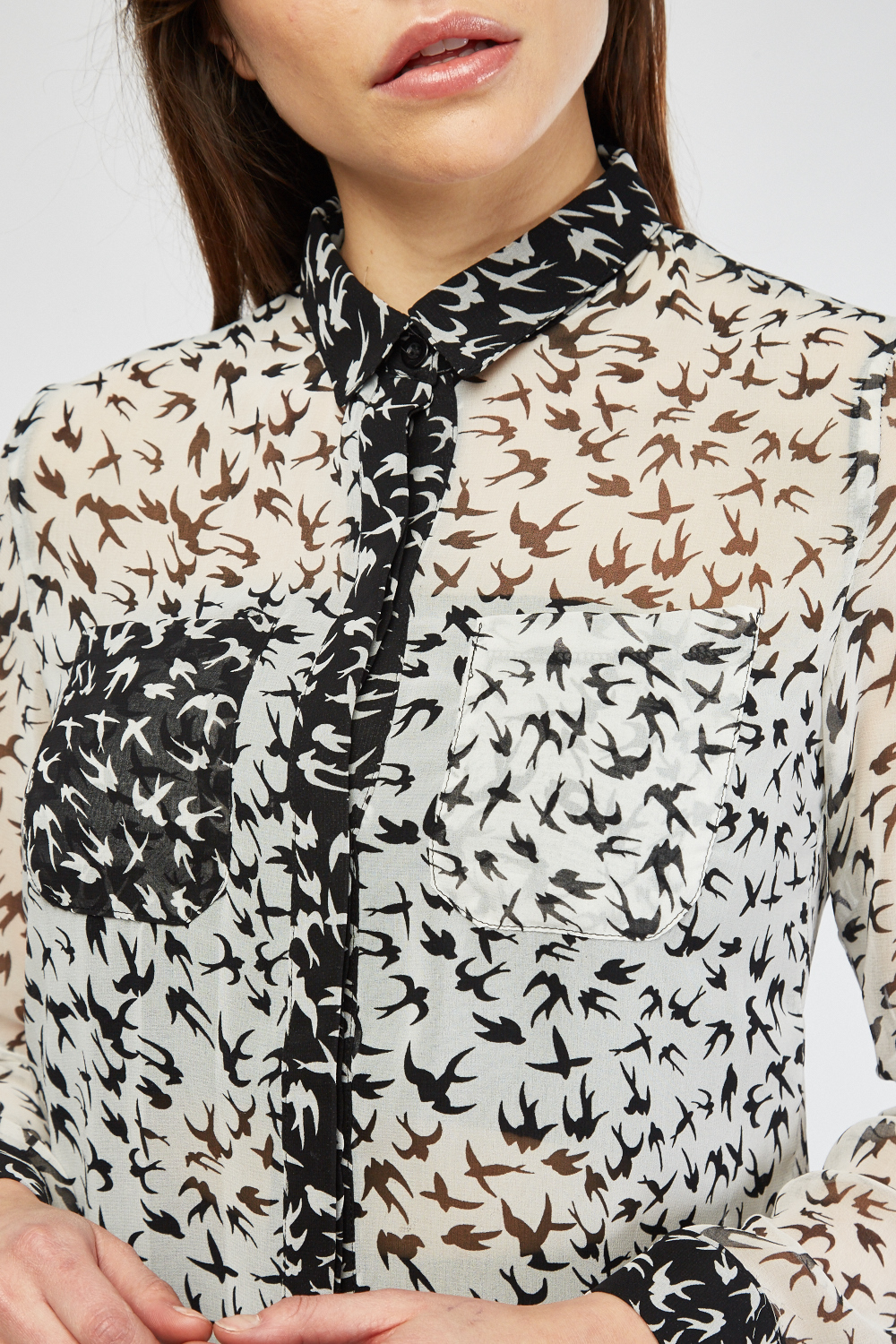07f3821a11 Sheer Bird Print Blouse - Off White/Black - Just £5