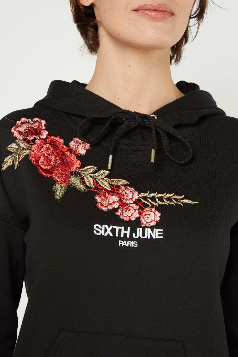 Embroidered Flower Zip Up Hoodie Just $6