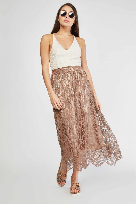 b49c165d88 Loose Crochet Overlay Midi Skirt - Light Brown or Beige - Just £5