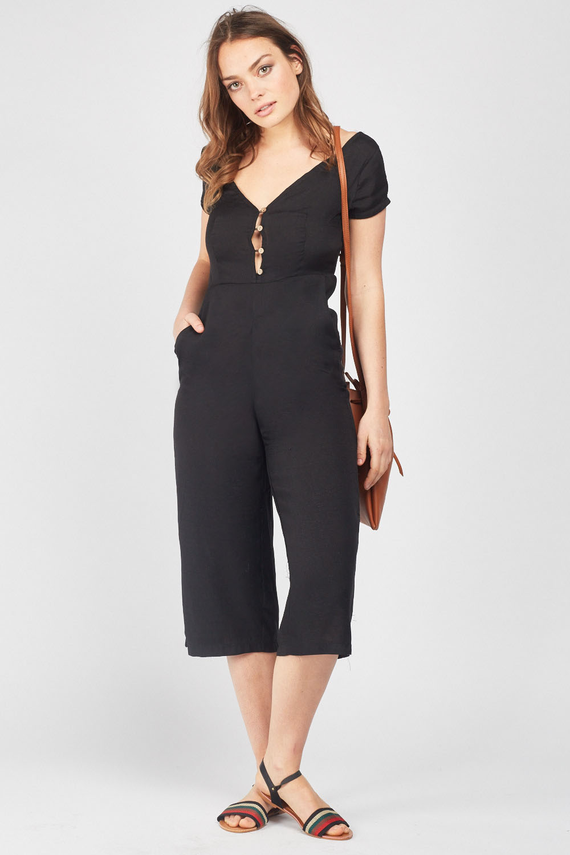 af1f948304c Wide Leg Button Front Culotte Jumpsuit - Just £5