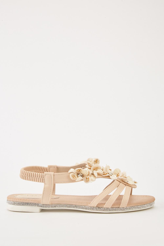 6810f3bc9 3D Flower Embellished Flat Sandals - Just £5