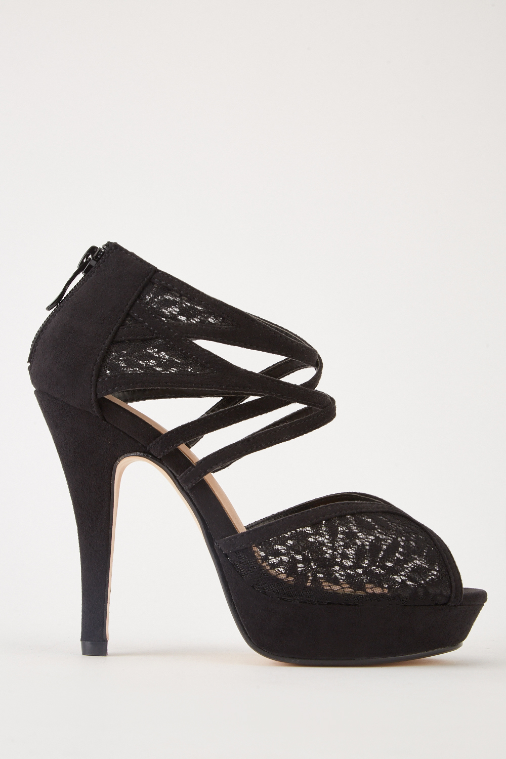 e9db516620ea Peep-Toe Lace Heel Sandals - Black - Just £5
