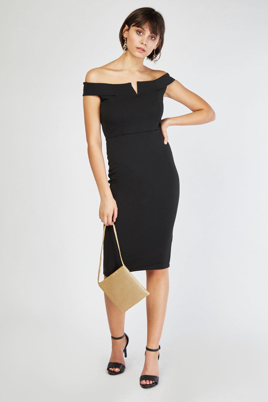 36ac4f69323b2 Off Shoulder Midi Bardot Dress - Black - Just £5