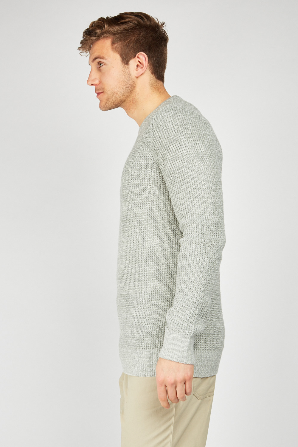 Crew Neck Knit Jumper Light Grey Off White Just 163 5