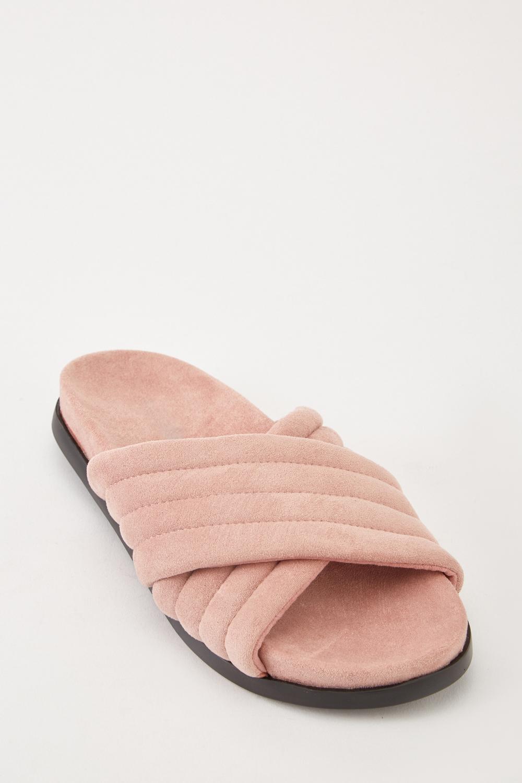 40a89c97a Faux Suede Criss Cross Flip Flops - Blush - Just £5