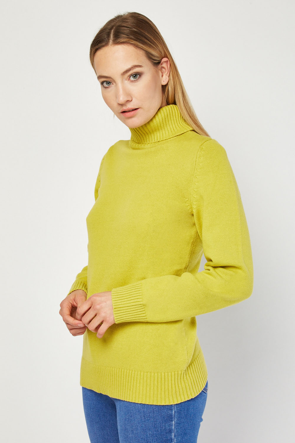 2b4f23d4ebc Roll Neck Chunky Knitted Jumper - Lime or Royal Blue - Just £5