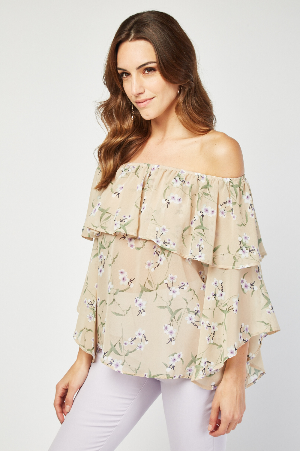 64d5412f00bfd7 Ruffle Overlay Bardot Style Top - Beige or Violet - Just £5