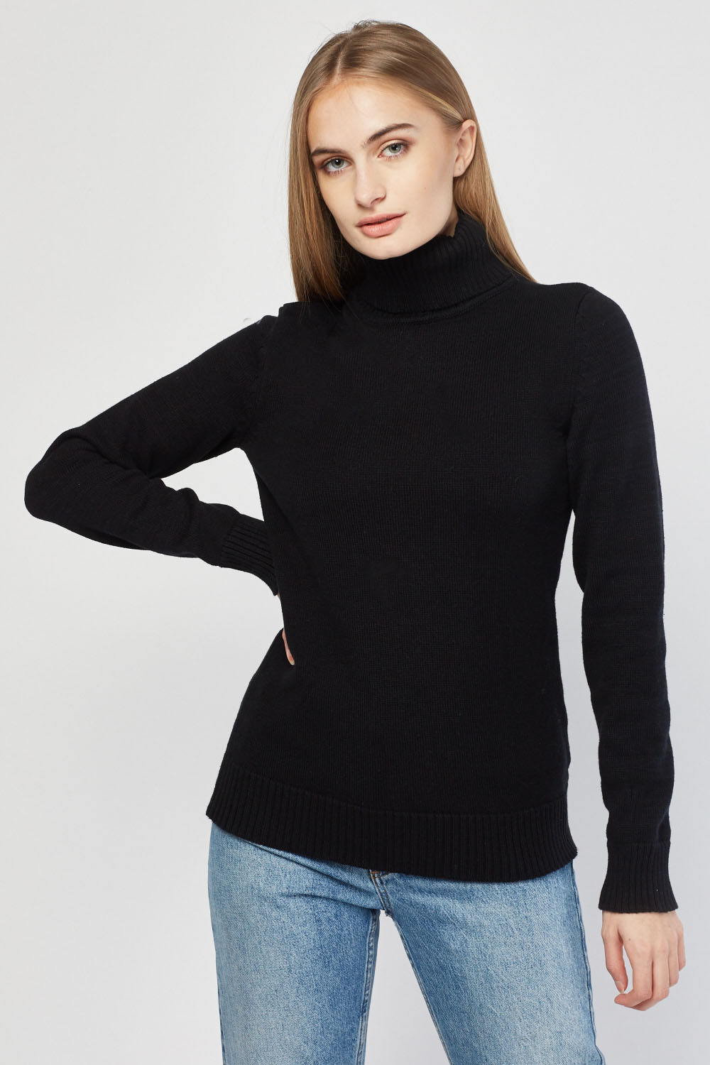 a0081bf269c377 Chunky Knitted Roll Neck Jumper - 3 Colours - Just £5