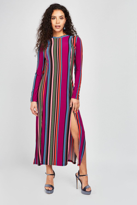 74e4bf6a334a Candy Striped Midi Dress - Purple Multi - Just £5